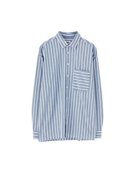 Striped drop-shoulder shirt