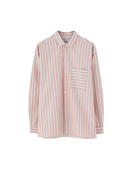Striped drop-shoulder shirt