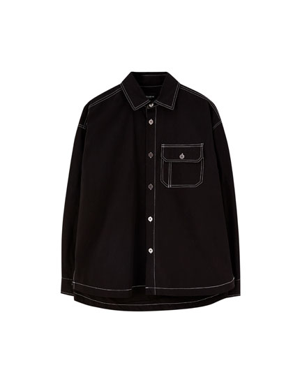 Shirt with contrast seams