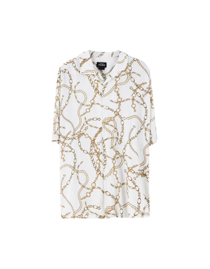 Chain print viscose shirt