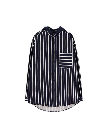 Striped overshirt with hood