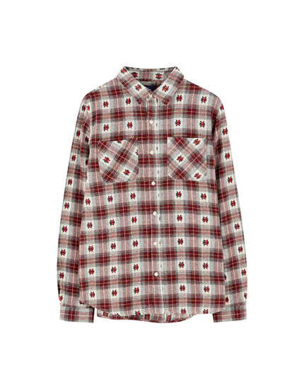 Long sleeve patterned check shirt