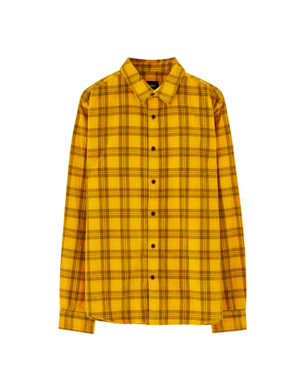 Mustard yellow check corduroy shirt
