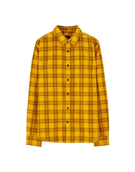 Camisa pana cuadros mostaza
