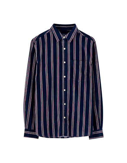 Vertical stripe corduroy shirt