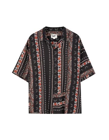 Paisley print viscose shirt