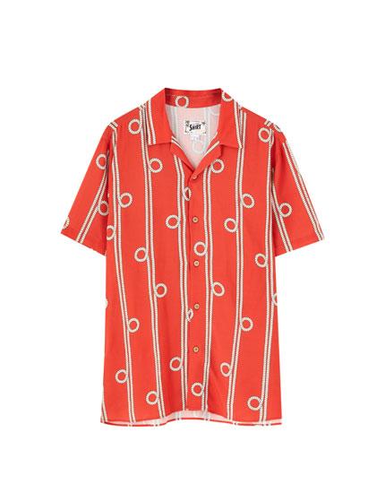 Short sleeve knot print shirt