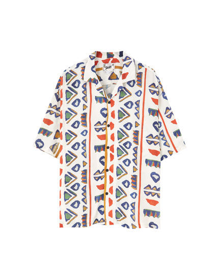 Short sleeve patterned viscose shirt