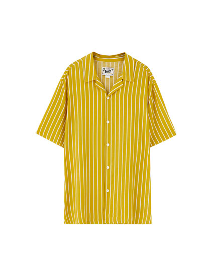 Two-tone striped viscose shirt