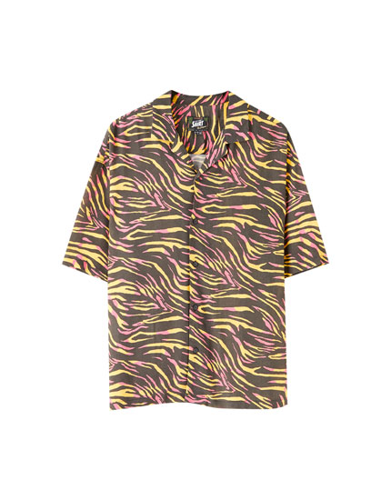 Viscose coloured print shirt