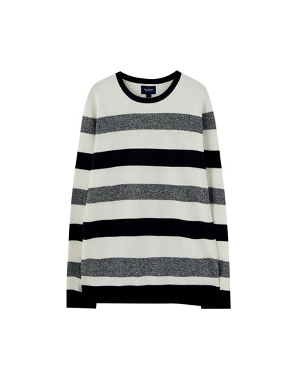 Striped textured knit sweater