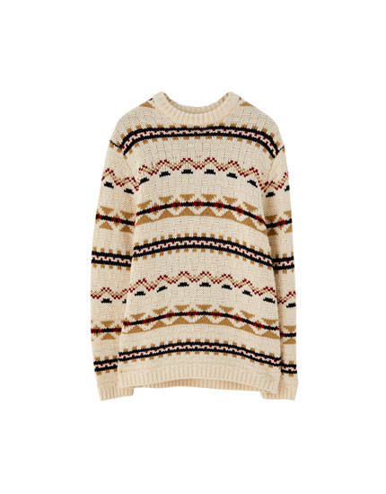 Vintage jacquard knit sweater