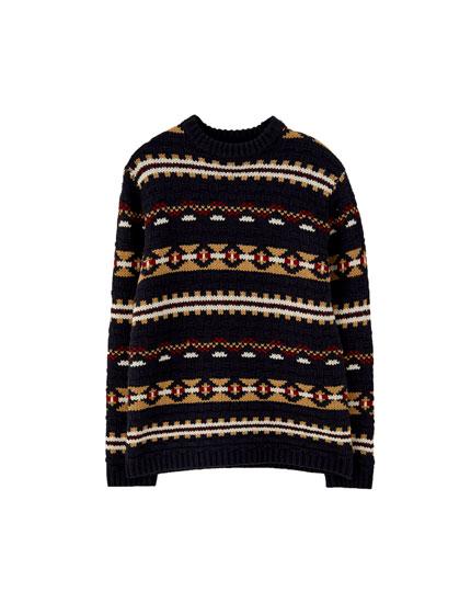 Vintage jacquard knit sweater