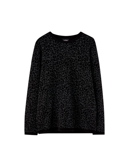 Black leopard print sweater