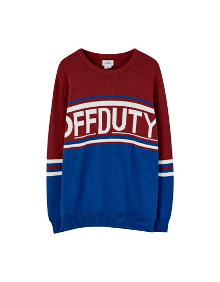 Colour block knit sweater with slogan