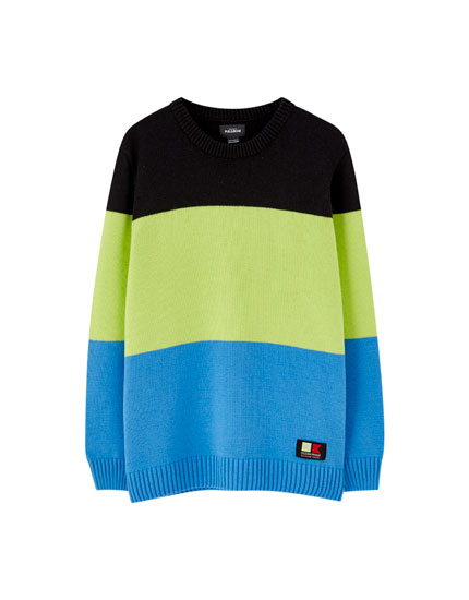 Neon panelled sweater