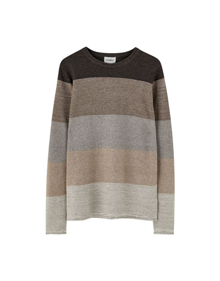 Panelled fine knit sweater