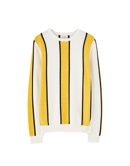 Vertical-striped knit sweater