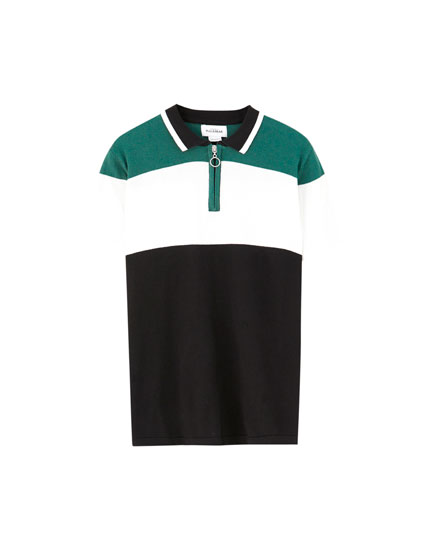 Zip colour block polo shirt