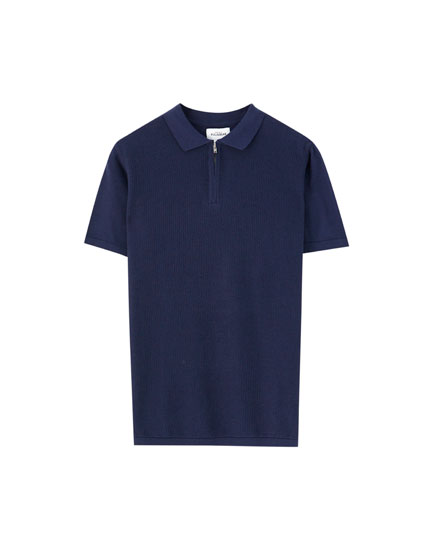Coloured zip polo shirt