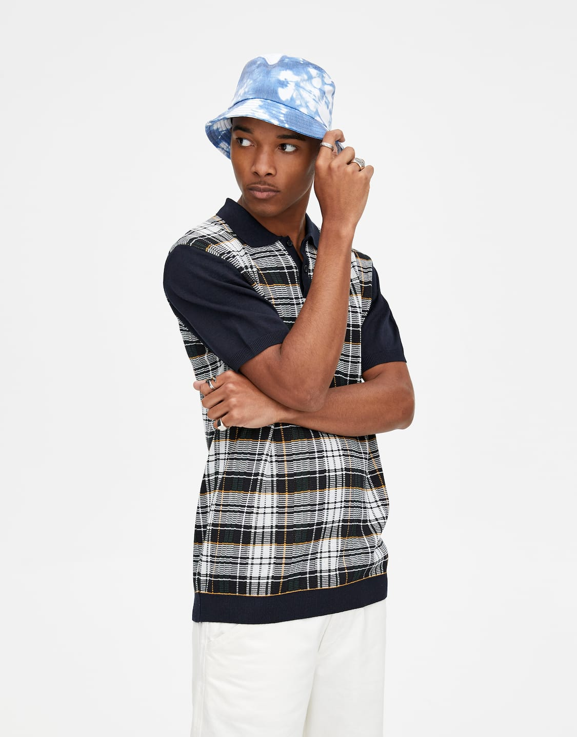 c46350c3e0 Checked polo shirt with contrast ribbed trims