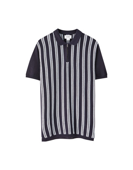 e2c6b131ff Basic round neck T-shirt. 12.99 · Polo shirt with contrast vertical stripes