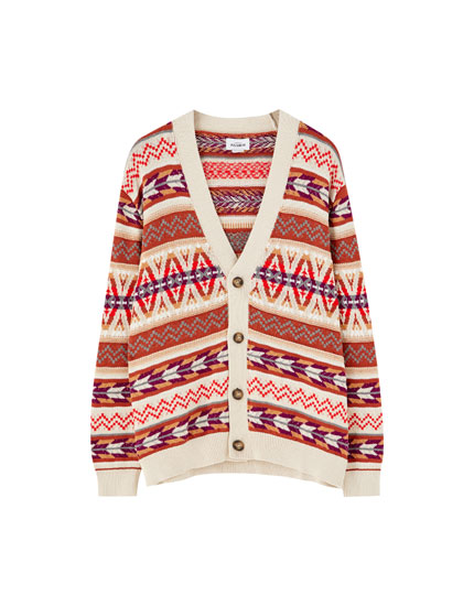 Geometric-patterned knit cardigan