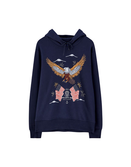 Hoodie with embroidered eagles