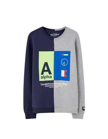 Two-tone sweatshirt with neon detail