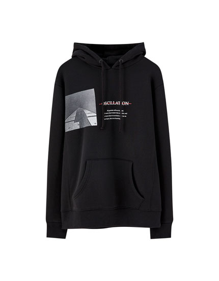 Hooded sweatshirt with slogan