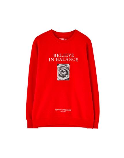 Red slogan sweatshirt