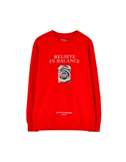 Red slogan sweatshirt