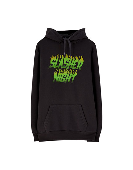 Pouch pocket hoodie with neon slogan