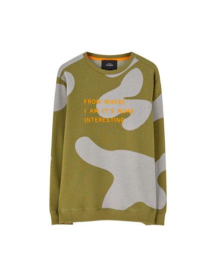 Camouflage round neck sweatshirt