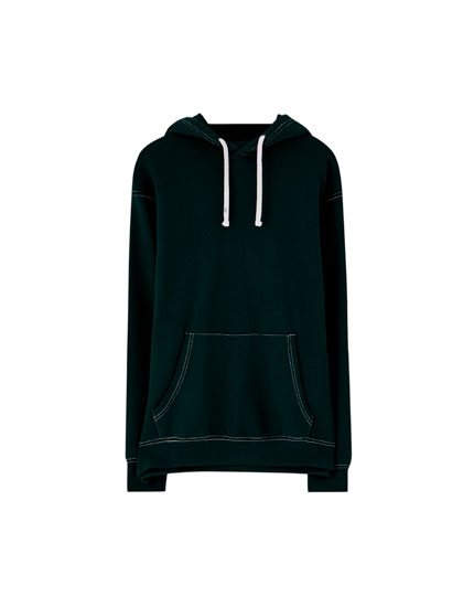 Hoodie with contrast seams