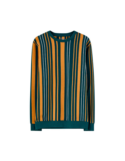 Mustard yellow vertical stripe sweatshirt