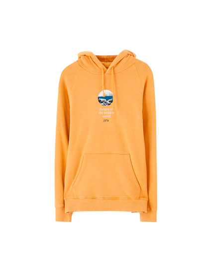 Mustard yellow mountain photo hoodie