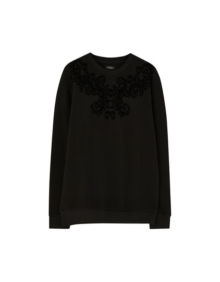 Sweatshirt with baroque flocking