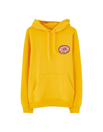 Yellow The Simpsons hoodie with doughnuts