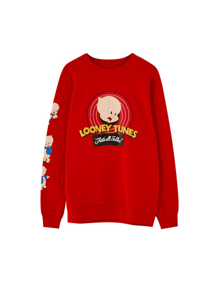 Red Looney Tunes Porky Pig sweatshirt