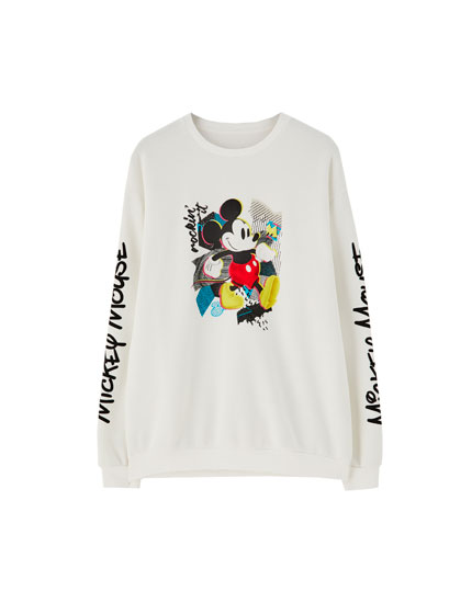 Mickey Mouse sweatshirt with sleeve slogan