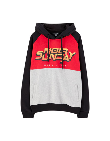 Colour block hoodie with graphic print