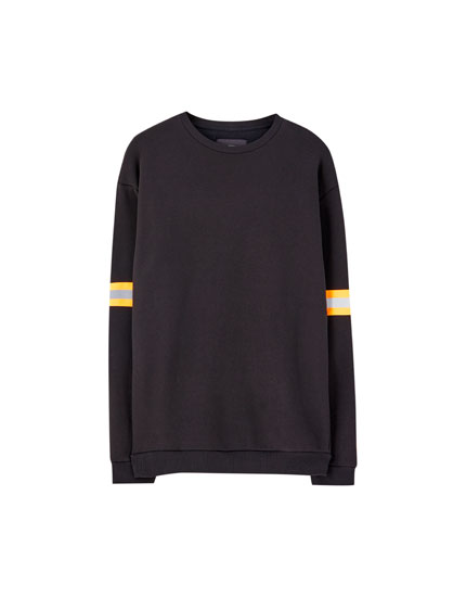 Black sweatshirt with reflective strips