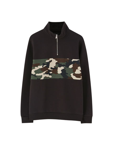 Black hoodie with camouflage panel