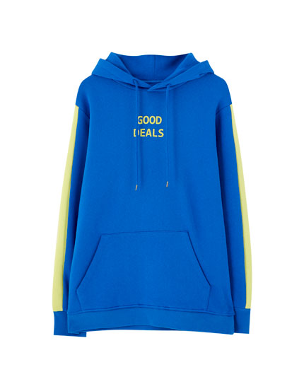 Blue hoodie with neon stripes