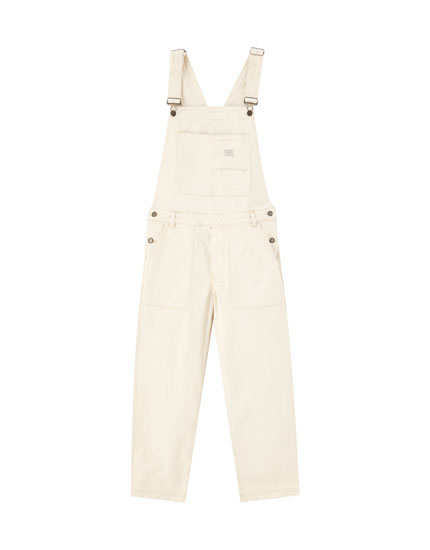 Beige denim worker dungarees
