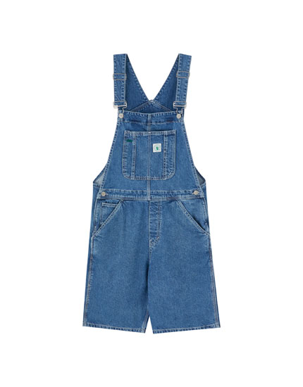 Short denim dungarees with contrast seams
