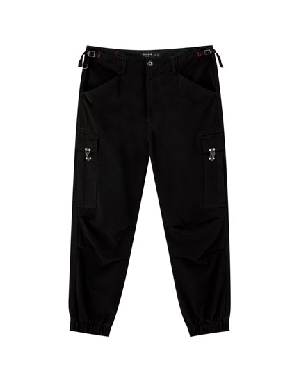 Cargo trousers with metal details