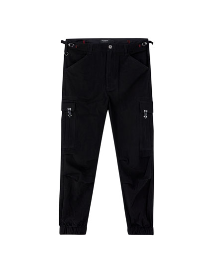 Cargo trousers with elastic cuffs and pockets