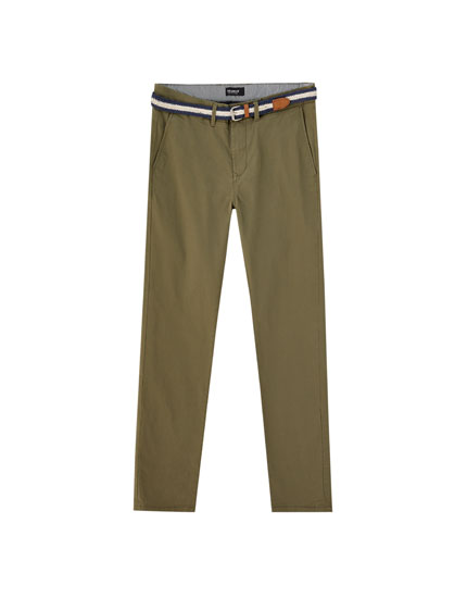 Belted slim fit chino trousers